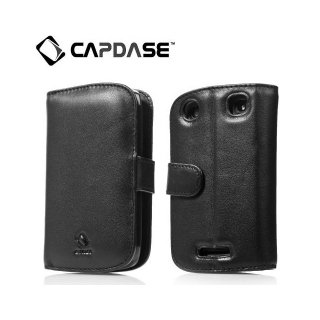 【スタンド機能付き手帳型ケース】 CAPDASE BlackBerry Curve 9380 Leather Case Bi-fold  Black