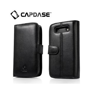 【スタンド機能付き手帳型ケース】 CAPDASE BlackBerry Torch 9850/9860 Leather Case Bi-fold  Black