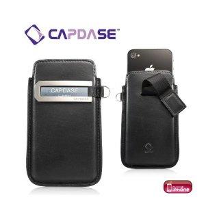 CAPDASE iPhone 4S/4 スマートポケット レザーケース コールID  ブラック/レッド