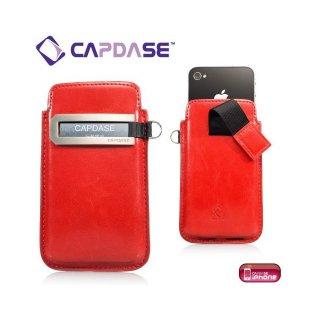 CAPDASE iPhone 4S/4 スマートポケット レザーケース コールID  レッド/ブラック
