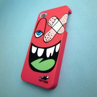 【ユニークなデザインのハードケース】 YETTIDE iPhone4S/4 Funny Face Case - Adhesive Plaster  Hot Pink
