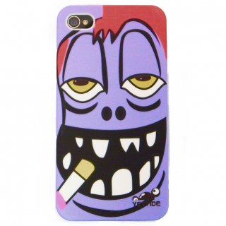 【ユニークなデザインのハードケース】 YETTIDE iPhone4S/4 Funny Face Case - Smokin' Boy  Purple
