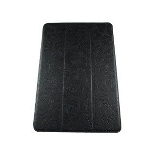 【スタンド機能付き】 GISSAR iPad mini 3/2/1 フラワーデザイン レザー調ケース  Black