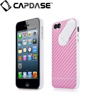 【カーボン調スタンド付きケース】 CAPDASE iPhone SE/5s/5 Snap Jacket Graphite Pink/White
