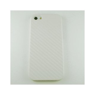 【シンプルなケース】 GauGau iPhone 5 Fashion Hard Rear Cover  Carbon Fiber Style  White