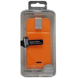 【縦開き型スタンド機能付きケース】 CAPDASE iPhone SE/5s/5 用 Folder Case Upper Polka オレンジ/グレー