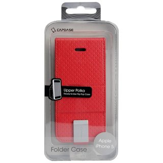 【縦開き型スタンド機能付きケース】 CAPDASE iPhone SE/5s/5 用 Folder Case Upper Polka レッド/グレー