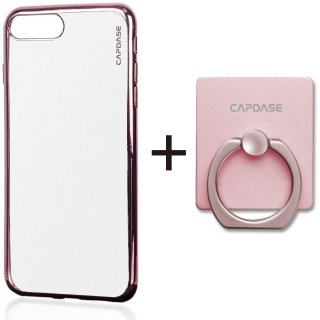 【iPhone7 Plus ケース おしゃれなソフトタイプ】 CAPDASE iPhone 7 Plus 専用 Soft Jacket Verge  Clear/Rose