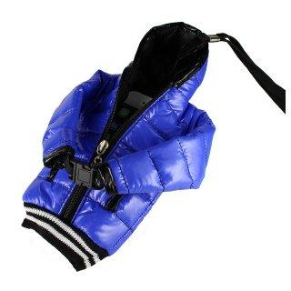 【5インチまで対応 汎用 スマートフォン ポーチ】 GauGau  Down Jacket Sytle Case Blue  (ネックストラップ つき)