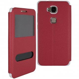 【Huawei GR5 手帳型ケース】 GauGau Huawei GR5 Smart Case  Red/White (スタンド機能つき)