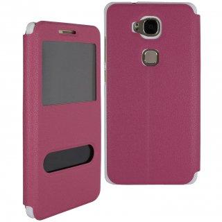 【Huawei GR5 手帳型ケース】 GauGau Huawei GR5 Smart Case  Hot Pink/White (スタンド機能つき)