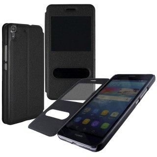 【Huawei Y6 手帳型ケース】 GauGau Huawei Y6 Smart Case  Black/Black (スタンド機能つき)