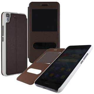 【Huawei Y6 手帳型ケース】 GauGau Huawei Y6 Smart Case  Brown/White (スタンド機能つき)