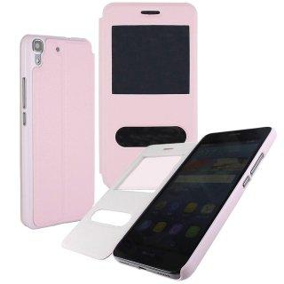 【Huawei Y6 手帳型ケース】 GauGau Huawei Y6 Smart Case  Light Pink/Light Pink (スタンド機能つき)
