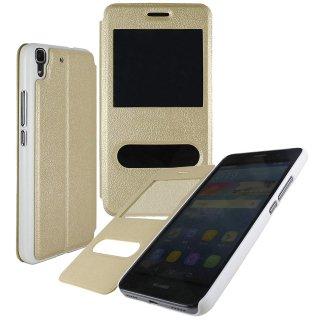 【Huawei Y6 手帳型ケース】 GauGau Huawei Y6 Smart Case  Gold/White (スタンド機能つき)