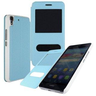 【Huawei Y6 手帳型ケース】 GauGau Huawei Y6 Smart Case  Water Blue/White (スタンド機能つき)
