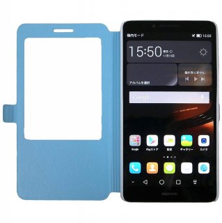 【Ascend Mate7 手帳型ケース】 GauGau Huawei Ascend Mate7 Smart Touch Cover  Blue (スタンド機能つき)