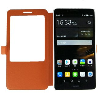 【Ascend Mate7 手帳型ケース】 GauGau Huawei Ascend Mate7 Smart Touch Cover  Orange (スタンド機能つき)