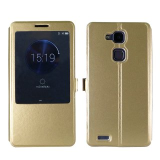 【Ascend Mate7 手帳型ケース】 GauGau Huawei Ascend Mate7 Smart Touch Cover  Gold (スタンド機能つき)