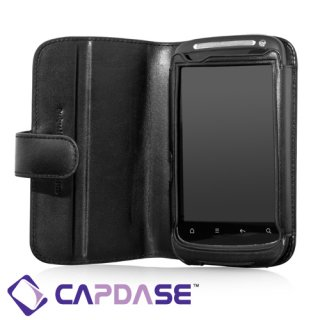CAPDASE HTC Desire S 用 Bi-fold (よこ開き) レザーケース (牛革) 黒