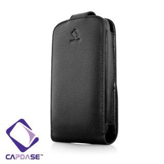 CAPDASE HTC Desire S 用 Flip Top (たて開き) レザーケース (牛革) 黒
