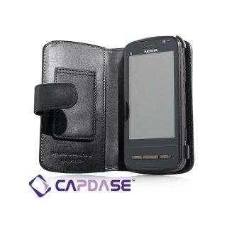 CAPDASE Nokia C6 Bi-fold (横開き) レザーケース (牛革) 黒