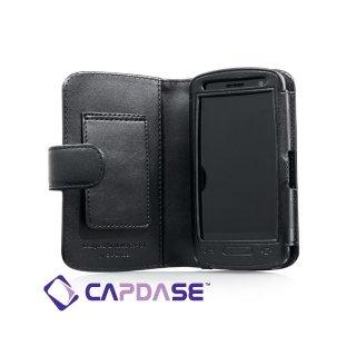 CAPDASE Nokia C6-01 Bi-fold (横開き) レザーケース (牛革) 黒