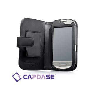 CAPDASE Nokia C7 Bi-fold (横開き) レザーケース (牛革) 黒