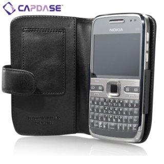 CAPDASE Nokia E72 Bi-fold (横開き) レザーケース (牛革) 黒