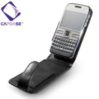 CAPDASE Nokia E72 Flip-top (縦開き) レザーケース (牛革) 黒
