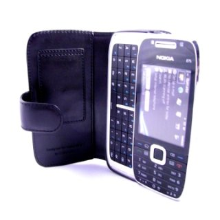 CAPDASE Nokia E75 Bi-fold (横開き) レザーケース (牛革) 黒