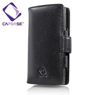CAPDASE Nokia X6 Bi-fold (横開き) レザーケース (牛革) 黒