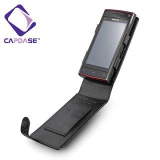 CAPDASE Nokia X6 Flip-top (縦開き) レザーケース (牛革) 黒