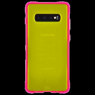 Galaxy S10 ハード ケース カバー [耐衝撃・ワイヤレス充電対応・ハイブリッド・スリム構造]  ネオン グリーン/ピンク