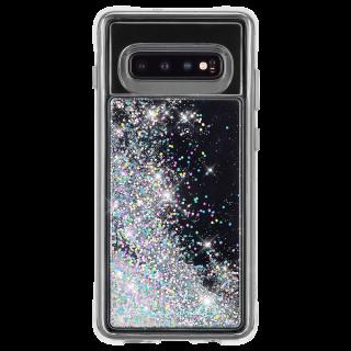 Galaxy S10 ハード スマホケース カバー [耐衝撃・ワイヤレス充電対応・ハイブリッド・スリム構造] 流れる キラキラ ウォーターフォール イリデセント
