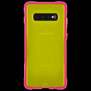 Galaxy S10+ ハード ケース カバー [耐衝撃・ワイヤレス充電対応・ハイブリッド・スリム構造]  ネオン グリーン/ピンク