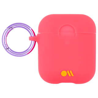 【AirPods 第1世代・第2世代・ワイヤレス充電もOK・ネックストラップ付】 AirPods Case Hook Ups Silicone Coral Pink