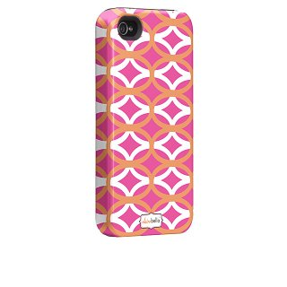 【衝撃に強いデザインケース】 iPhone 4S/4 Hybrid Tough Case, Clairebella - Ovalicious Pink