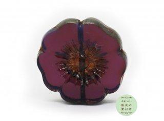 22mm チェコビーズ テーブルカット ハイビスカス レッドパープル ピカソ(チェコガラスビーズ/フラワー/花)1個