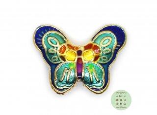 美しい虹色の蝶の大きめエナメルビーズ(レインボー/ゴールド/チャーム)