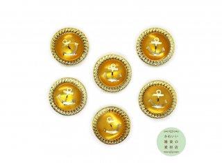 12mm ゴールドのロープの縁どりのついたイカリ(いかり/錨/アンカー)の小さいボタン(オレンジ/ラウンド/丸)6個セット