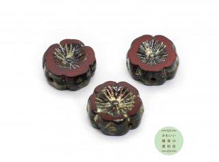 15mm チェコビーズ テーブルカット ピカソ ハイビスカス ワインレッド(チェコガラスビーズ/フラワー/花)3個セット