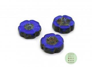 12mm チェコビーズ テーブルカット ハイビスカス マーブル模様のコバルトブルー(チェコガラスビーズ/フラワー/花)3個セット