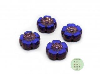9mm チェコビーズ テーブルカット ハイビスカス マーブル模様のコバルトブルー&ブロンズ(チェコガラスビーズ/フラワー/花)4個セット