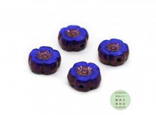 8mm チェコビーズ テーブルカット ハイビスカス マーブル模様のコバルトブルー&ブロンズ(チェコガラスビーズ/フラワー/花)4個セット