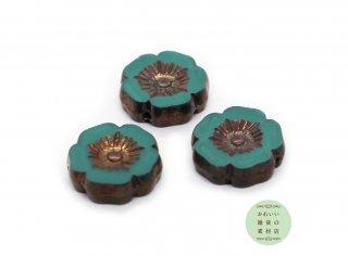 12mm チェコビーズ テーブルカット ハイビスカス トルコブルー&ブロンズ ピカソ(チェコガラスビーズ/フラワー/花)3個セット
