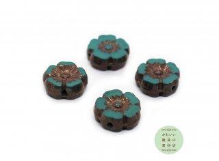 10mm チェコビーズ テーブルカット ハイビスカス トルコブルー&ブロンズ ピカソ(チェコガラスビーズ/フラワー/花)4個セット