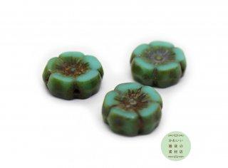 12mm チェコビーズ テーブルカット ハイビスカス トルコブルー(ターコイズブルー)(チェコガラスビーズ/フラワー/花)3個セット