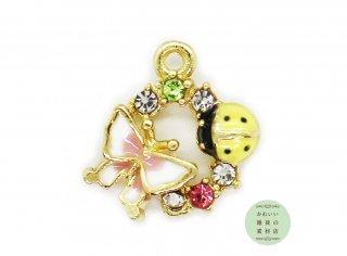 幸せを運ぶ♪黄色いてんとう虫と蝶とラインストーンのラッキーチャーム(ゴールド)