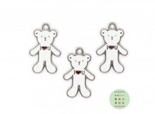 キュートなシロクマのエナメルチャーム(白熊/こぐま/子熊/クマ/ベアー)3個セット